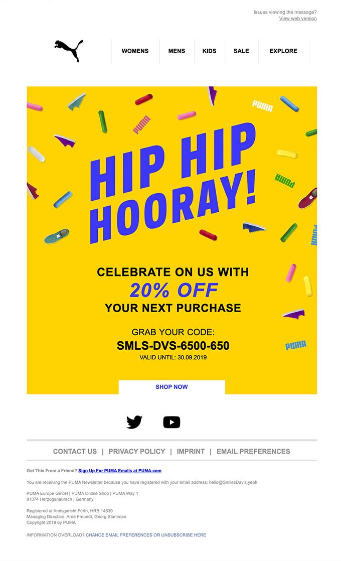 Puma happy birthday email template