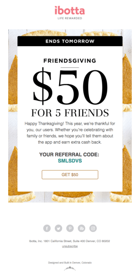 Thanksgiving email sample