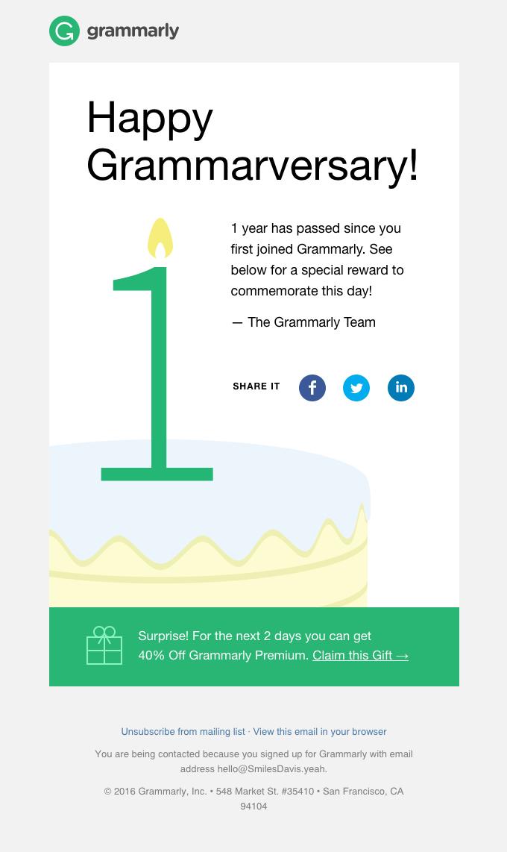 grammarly anniversary email sample
