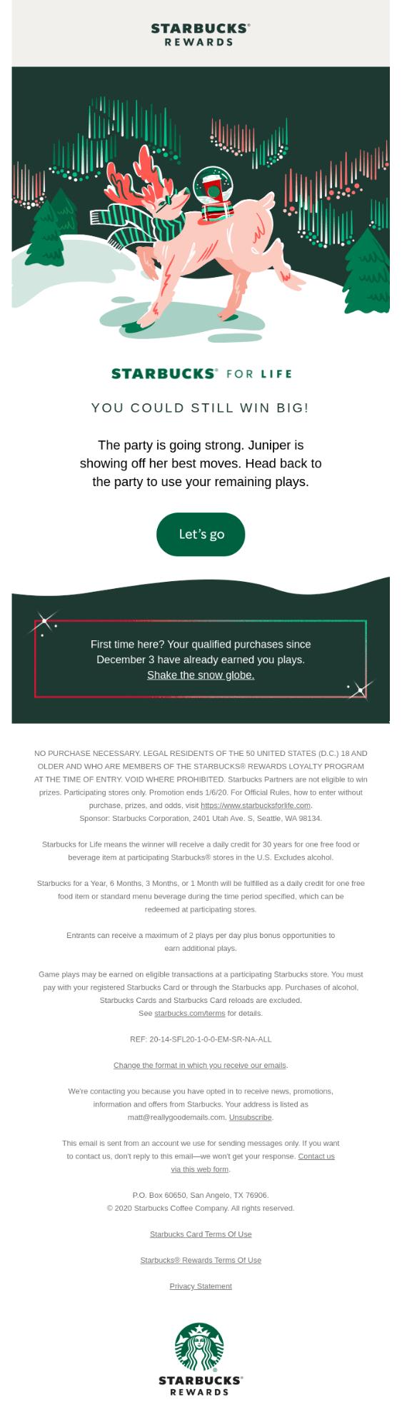 Starbucks holiday email