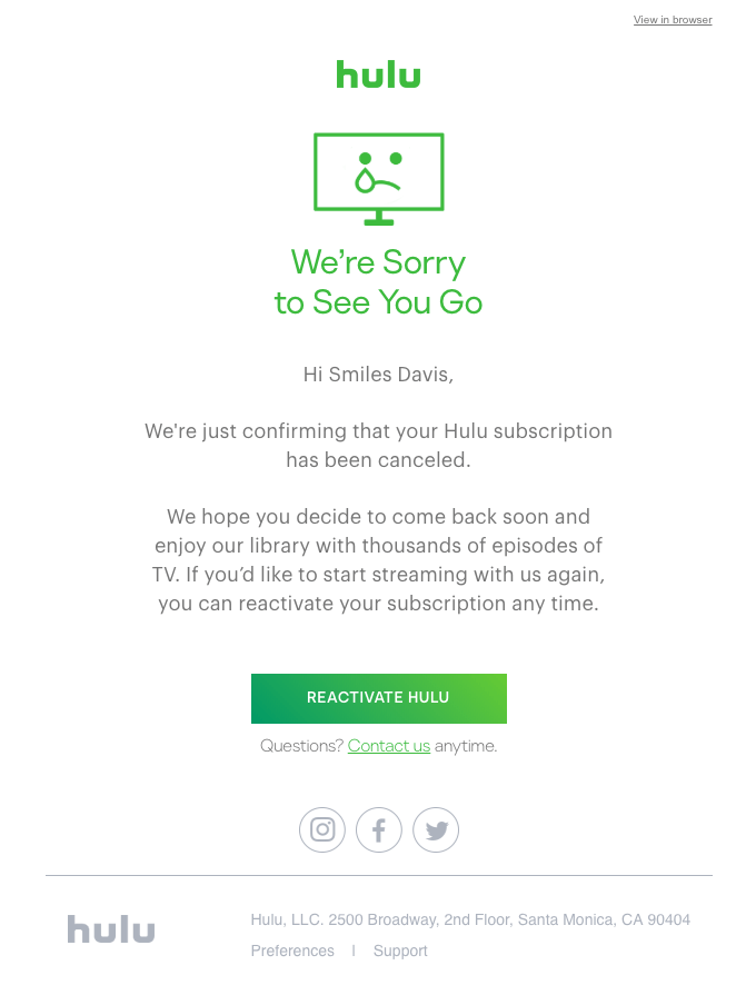 Unsubscribe Email Example