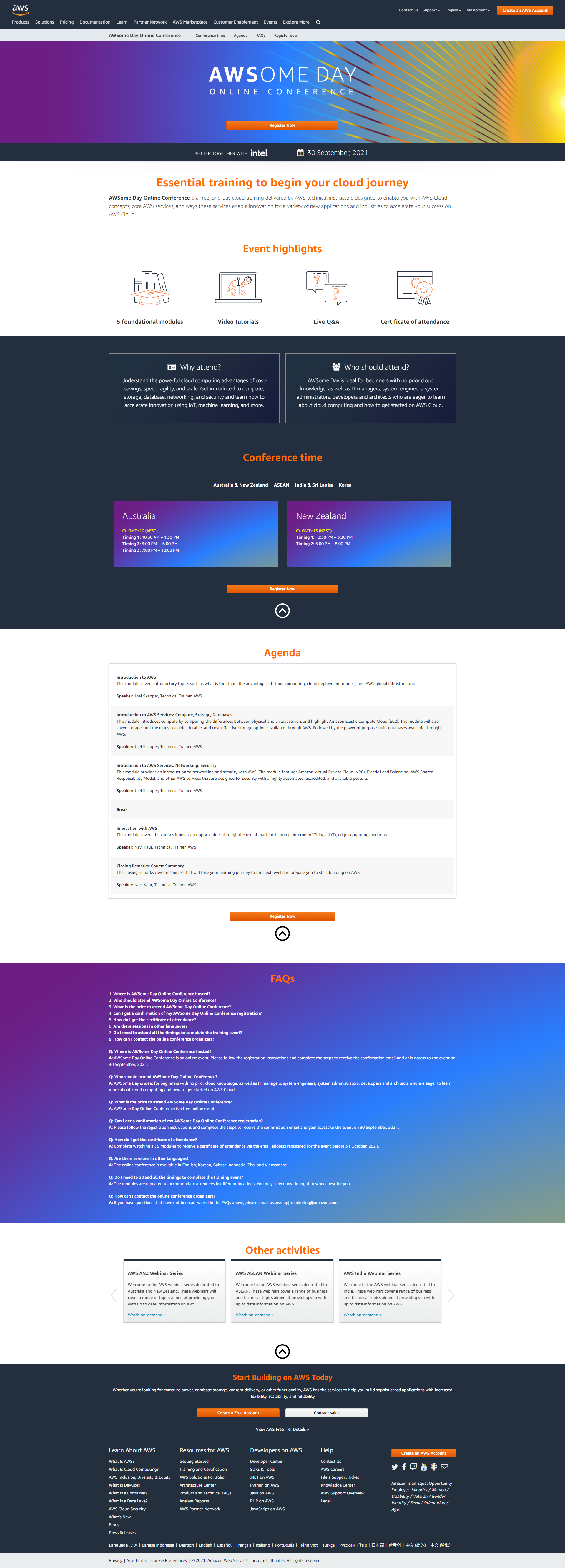 AWS Web page example