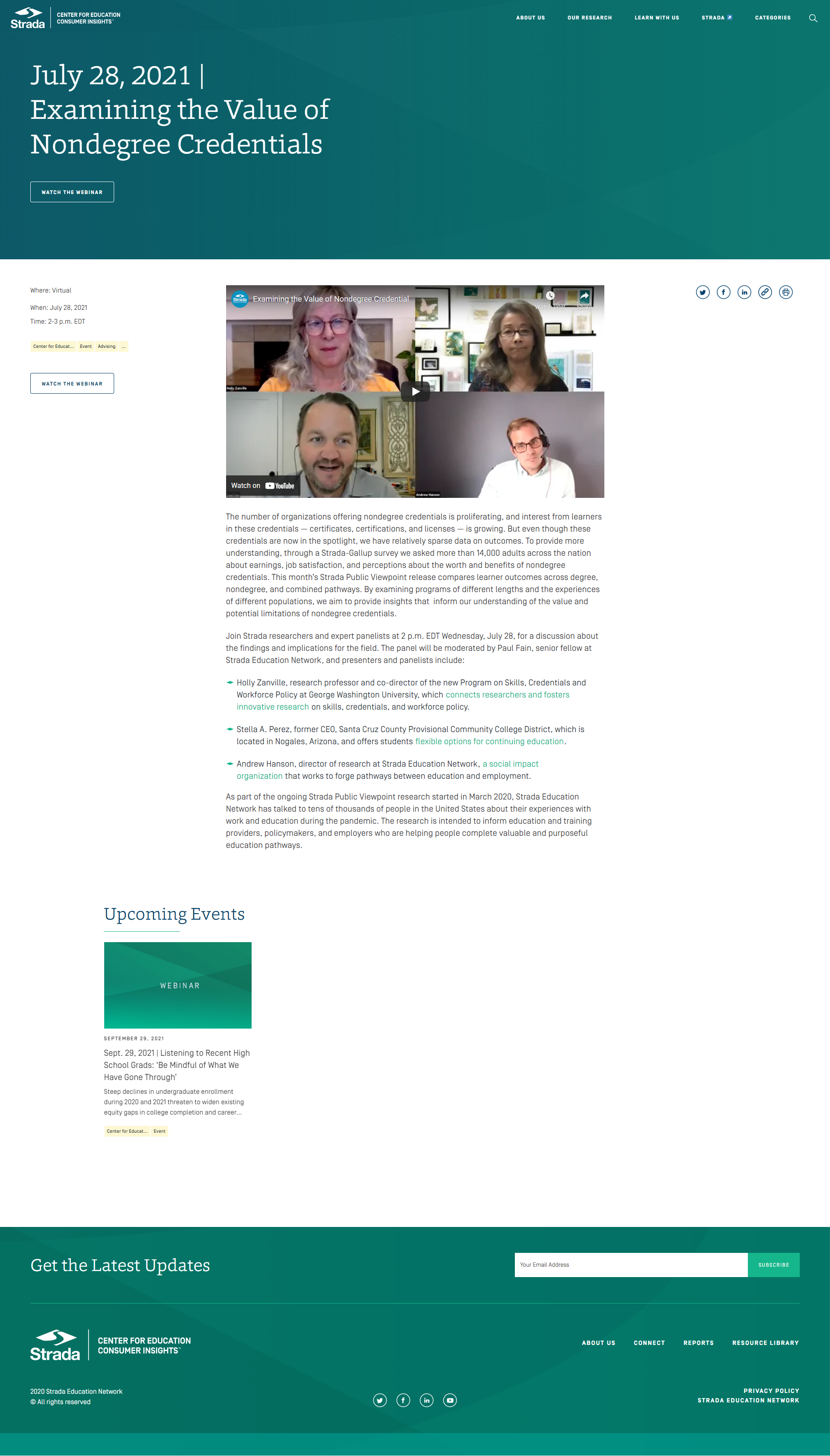 The Strada Education Network web page example