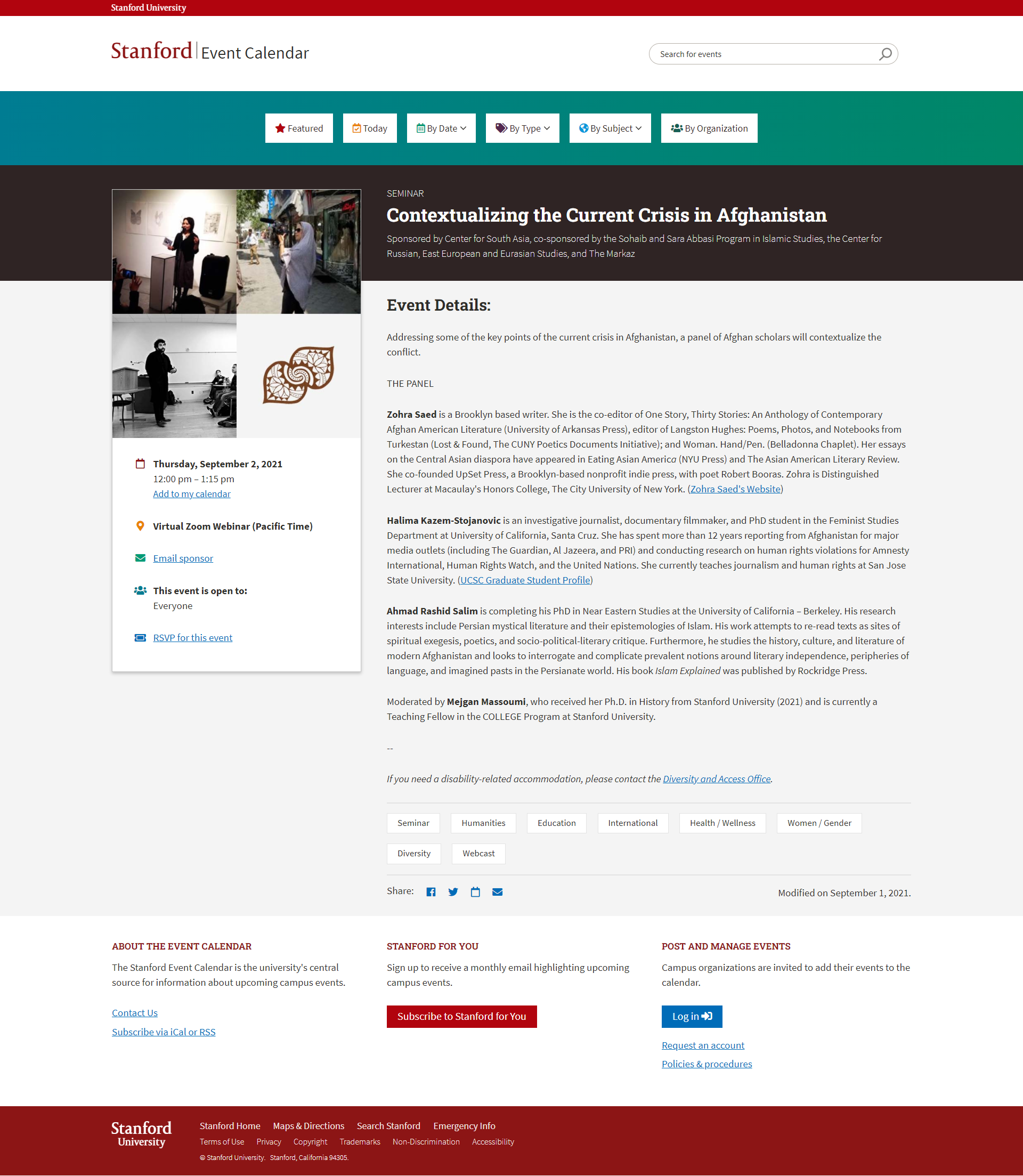 Stanford University Web page example