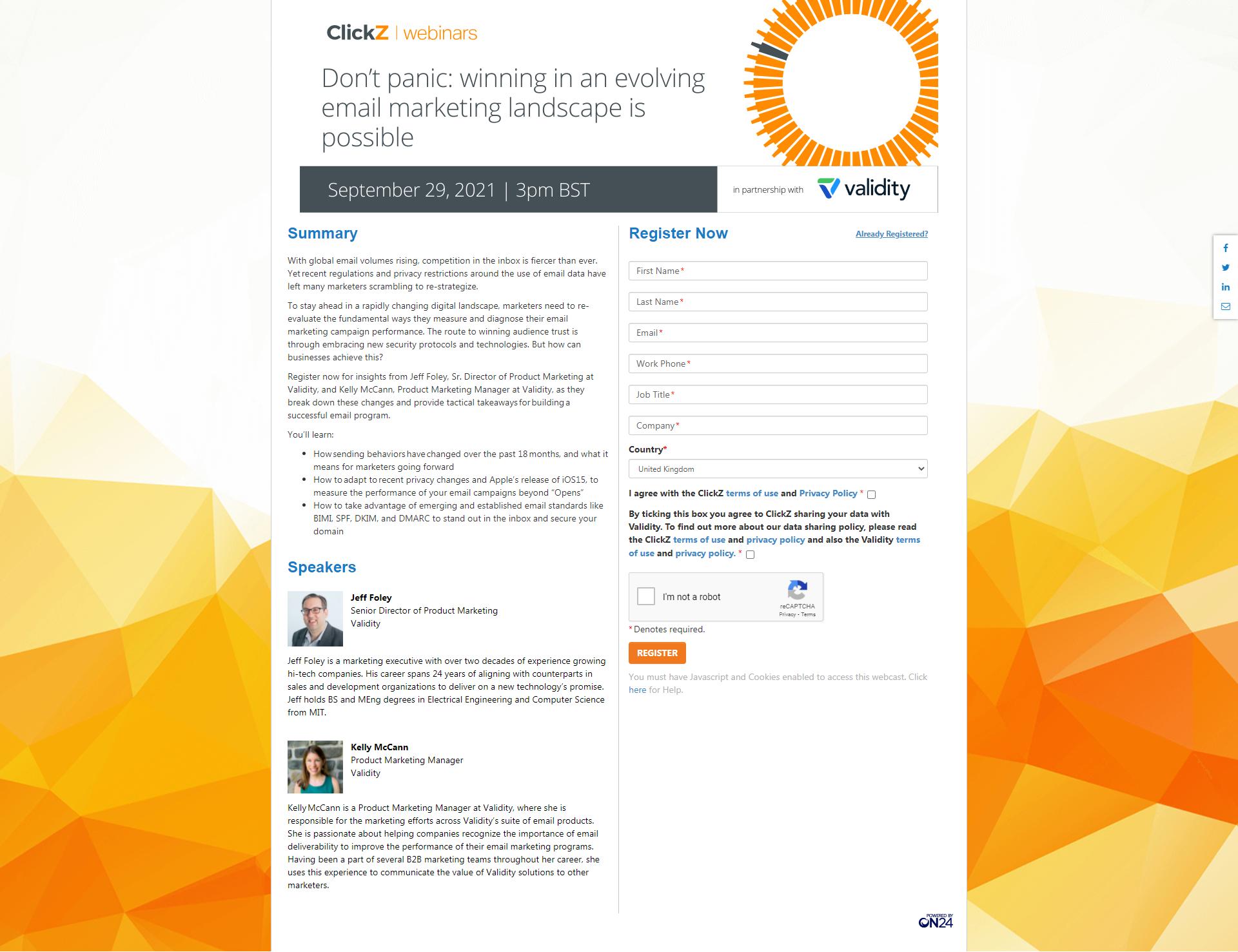 ClickZ Web page example