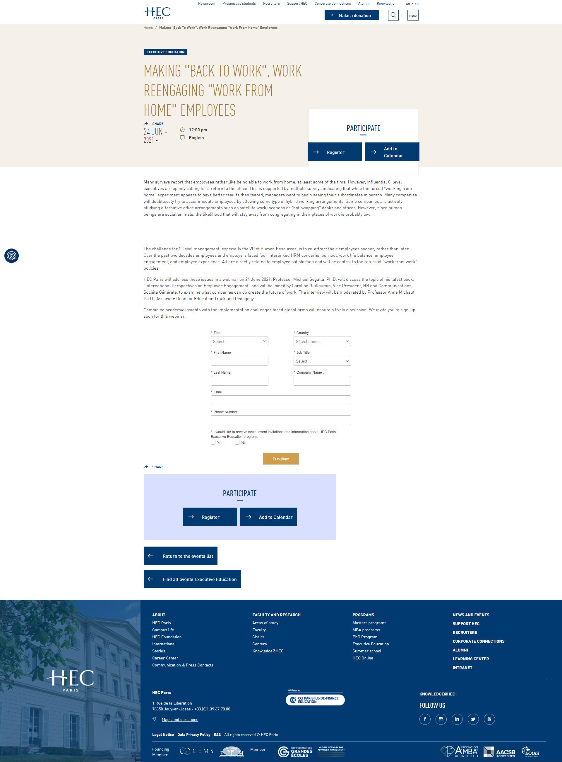 HEC Paris' Web page example