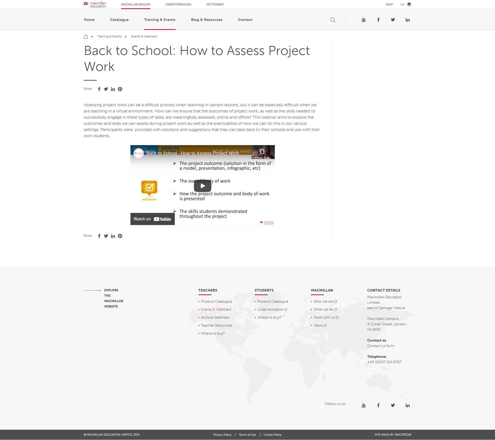 Macmillan English's  Web page example