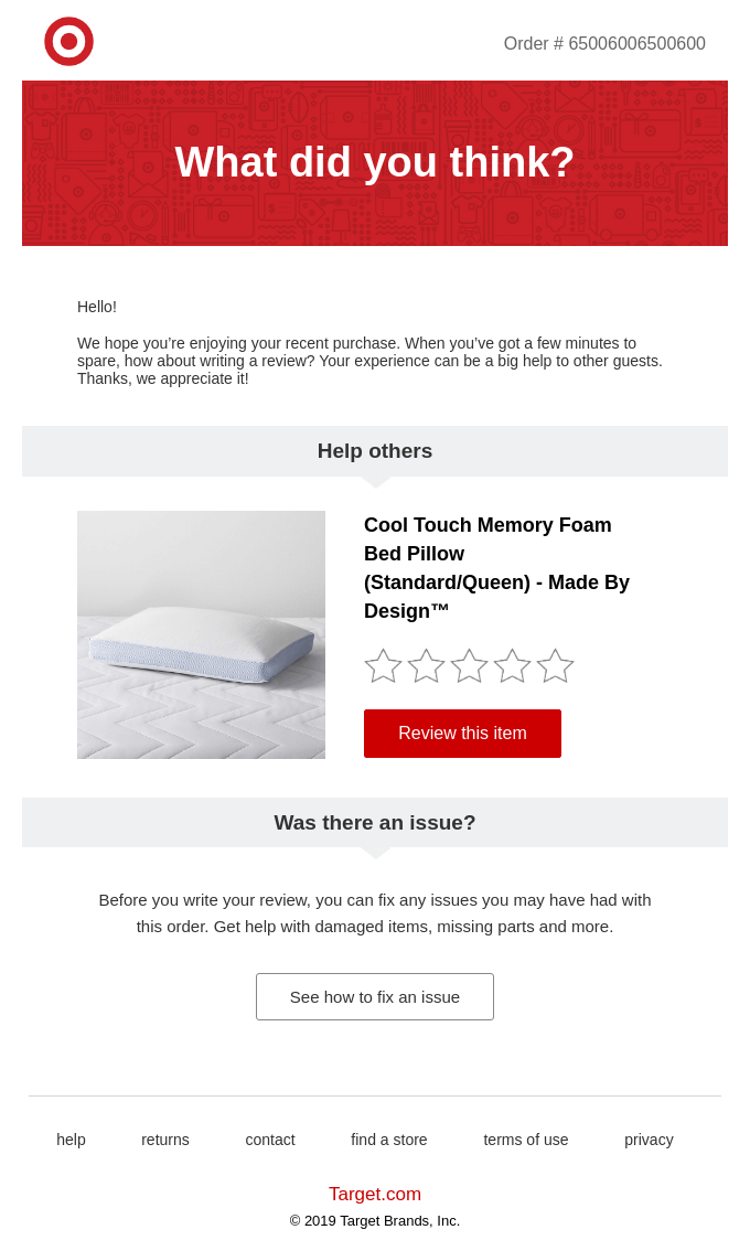Post-purchase Emails by target.com
