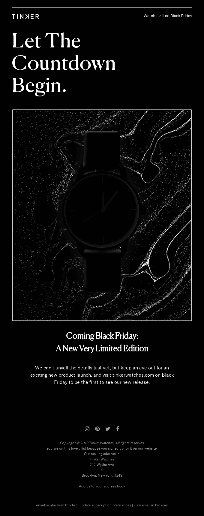 Black Friday email sample