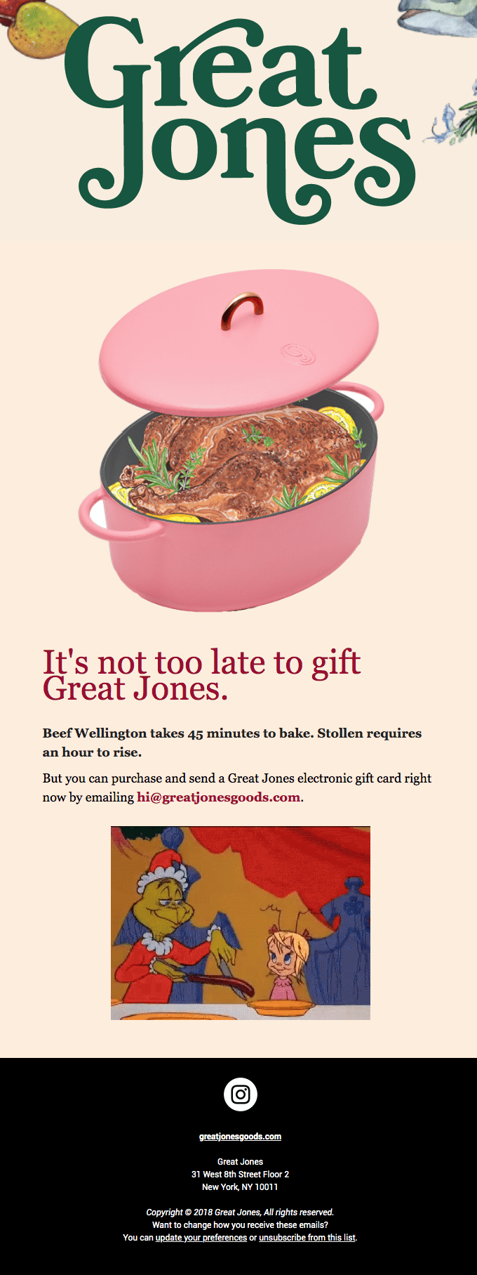 Great Jones email sample