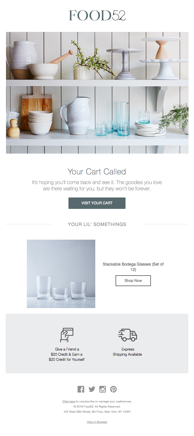 cart abandonment email by food52